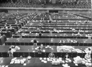 Overall view of large file room at FBI headquarters. (Photo by George Skadding/The LIFE Picture Collection/Getty Images)
